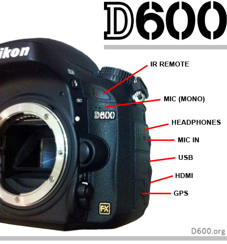 Nikon D600 side inputs
