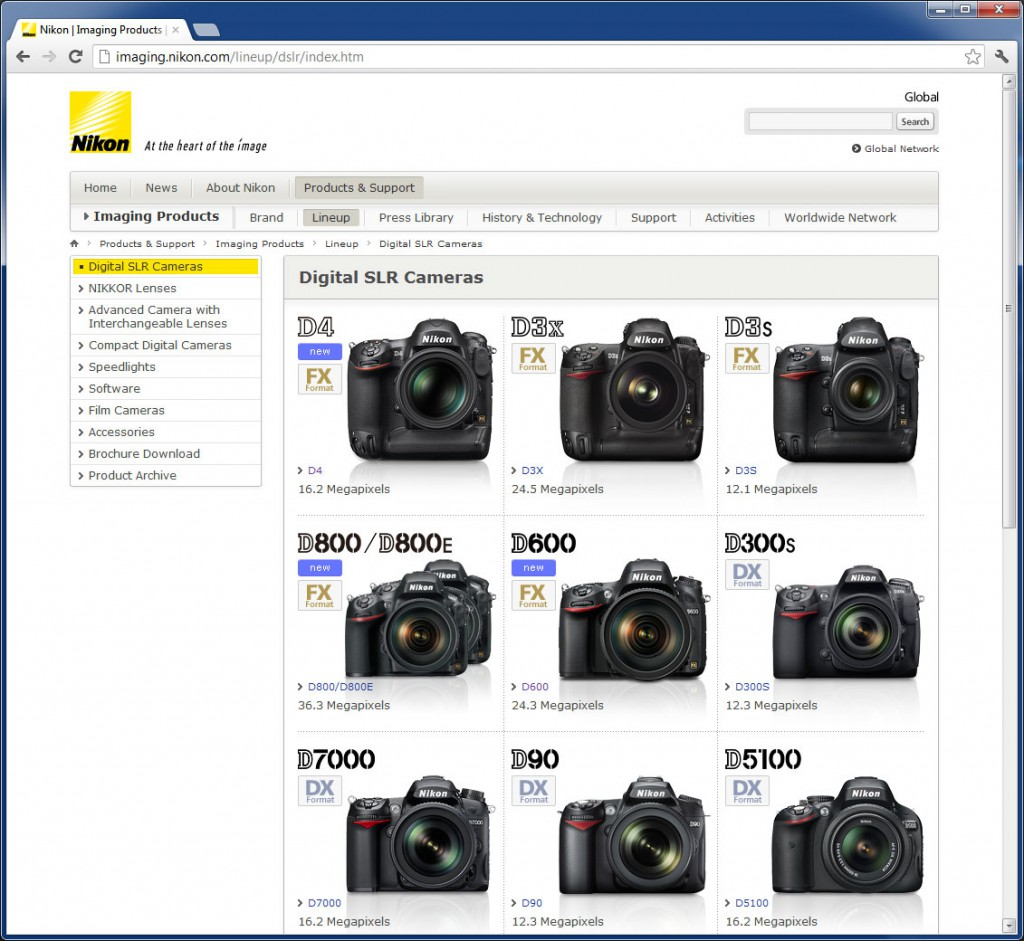 Nikon D600 on Nikon Website