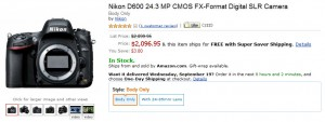 Nikon D600 in stock at Amazon